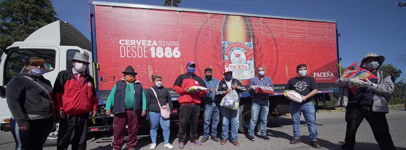 CBN dona ocho toneladas más de alimentos a las familias cochabambinas